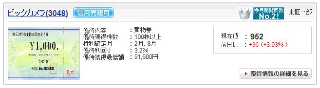 ビックカメラ(3048)をSBI証券で株主優待検索