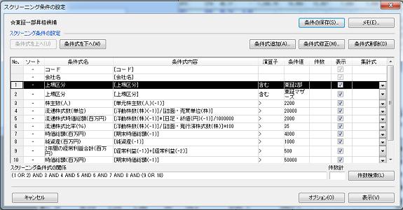 四季報CD-ROMで東証一部指定基準をスクリーニング